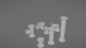 3D industrial pipes model