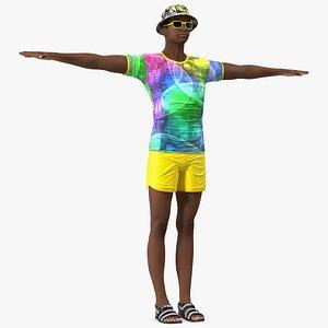 Light Skin Teenager Beach Style T Pose 3D model