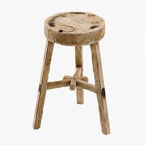 Vintage wooden stool 3D