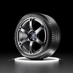 3D Car wheel Michelin Pilot Sport 4S tire with TE037 DURA rim model