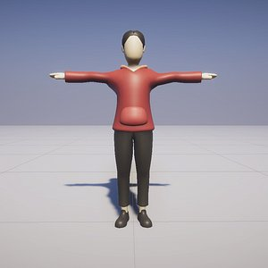 3D Cartoon boy low poly rigged animated