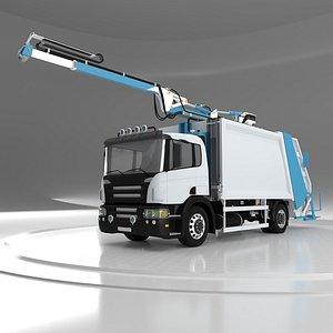 3D Hill Crane Garbage Truck