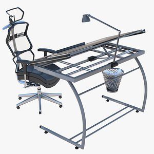 Drafting Table and Office Chair model