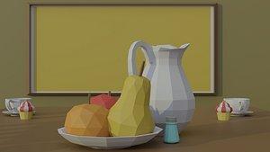 3D cartoon kitchen interior asset model