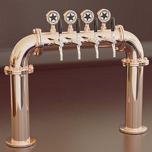 Modelo listos para la escena de bar, pub o restaurante: torre de cerveza. 3D