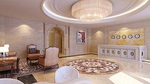 3D hotel lobby model