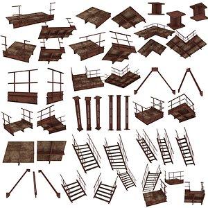 3D 21 Models Industrial Platforms  Stairs 01 Set