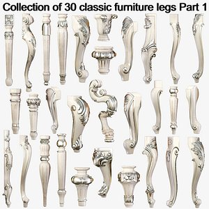 Collection of 30 classic furniture legs Part 1 model