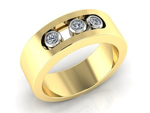 ring movable stones 3D model