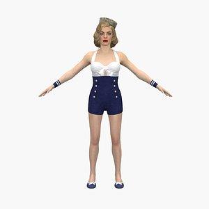 3D pinup girl model