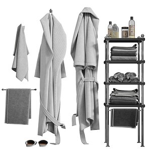 White robe and towels 3D model