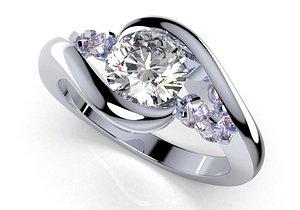 3D ring solitaire women - model