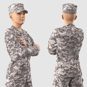 3D Female Soldier Military ACU Rigged for Modo