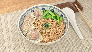 3D Chinese wonton noodles