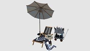 parasol umbrella furniture 3D