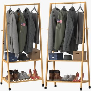 3D Rolling Garment Rack Coat Stand