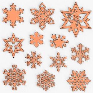 3D 12 snowflakes