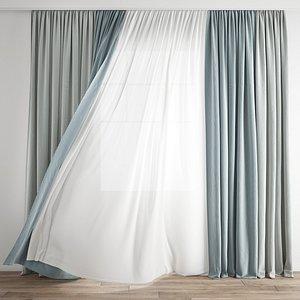 3D Curtain 267-Wind blowing effect 2 model