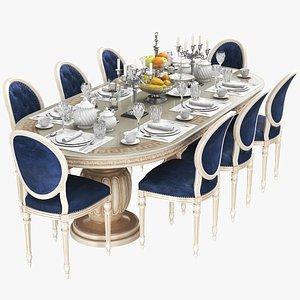 Full Dining Table Set 3D model