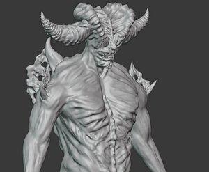 Demon creature highpoly model