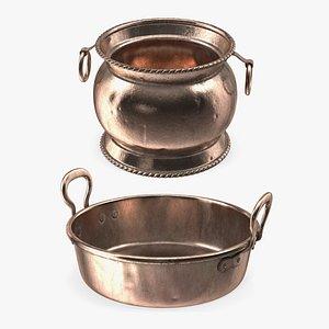 Antique Copper Cookware Collection 3D model