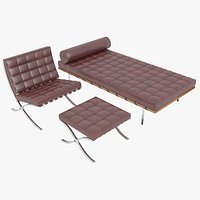 Knoll Red Leather Barcelona Chair Couch and Stool Ottoman Set