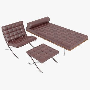 Knoll Red Leather Barcelona Chair Couch and Stool Ottoman Set 3D model