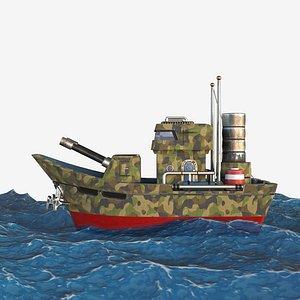 3D battleship boat ship model