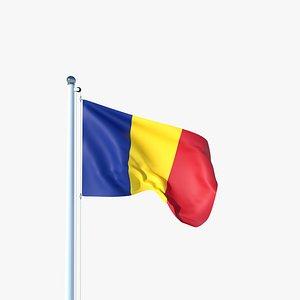 Animated Flag of Romania 3D model