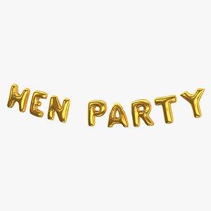 Foil Baloon Words HEN Party Gold 3D