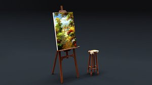 Carved Wood Easel and Painting Set 3D