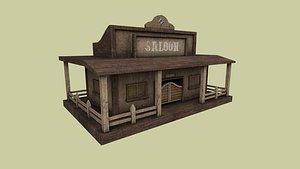 3D model western saloon - old west