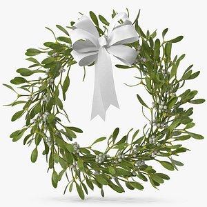 Mistletoe Wreath with White Bow 3D model