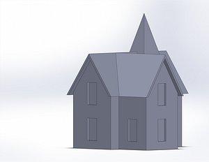 3D model french villa spire