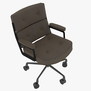Eames Executive Chair Black Frame Taupe Fabric 3D model