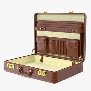 3D Opened Hard Shell Leather Briefcase Brown model