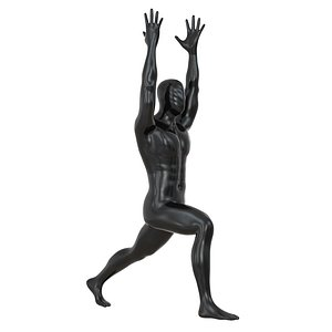 3D model male mannequin stands yoga