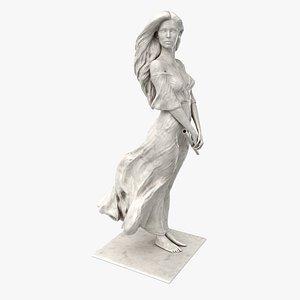 3D Marble Flute Girl 3D Model