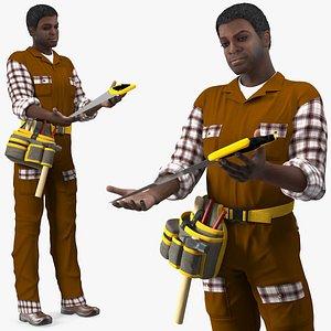 Afro American Carpenter Standing Pose 3D model