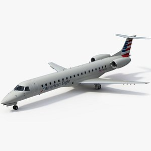 3D Embraer ERJ145 Regional Jet American Eagle