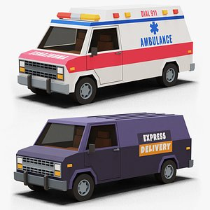 3D Stylized Cartoon Ambulance and Delivery Van 80s Low-poly