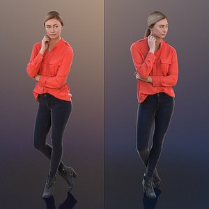 10265 Ramona - Young Woman Standing And Thinking 3D