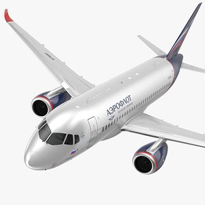 3D Sukhoi Superjet 100 with Saberlets Aeroflot Flight