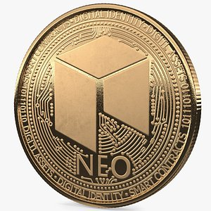 3D neo cryptocurrency coin gold