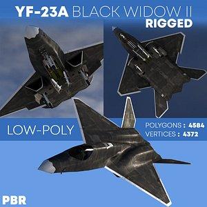 3D YF-23A BLACK-WIDOW-II Rigged