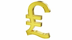 Great Britain Pound currency sign 3D