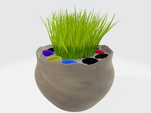 potted herb made of ceramics model