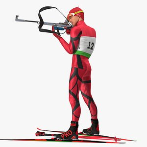 Biathlete Fully Equipped Standing Pose model