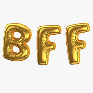 Foil Baloon Words BFF Gold 3D