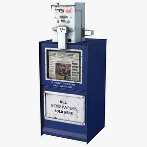Newspaper Box Blue HD 3D model